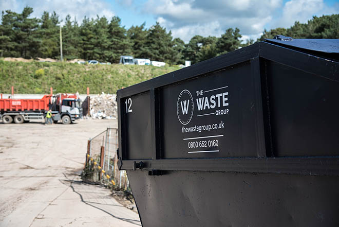A Waste Group Skip. We are authorised to safely remove hazardous asbestos waste.
