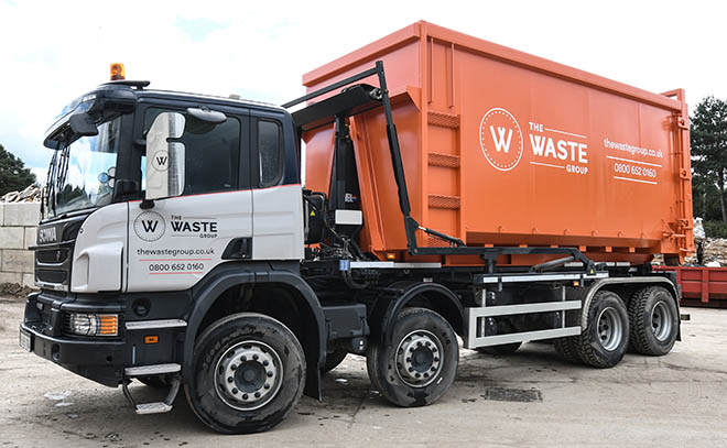 The Waste Group Sealed Skip Unit for removing dangerous asbestos